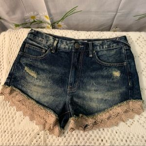 Free people mid rise tan lace trim denim shorts